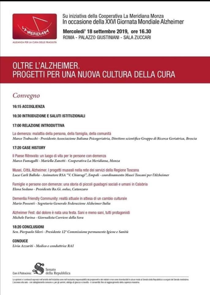 Oltre l'Alzheimer. Convegno A Roma 18 Settembre 2019